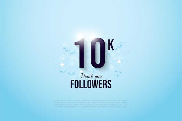 Sfondo 10k follower con uno sfondo blu sfumato sopra la figura.