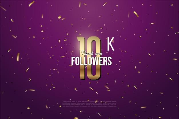 Sfondo 10k follower con brillante figura dorata illustrazione su sfondo viola con macchie d'oro.