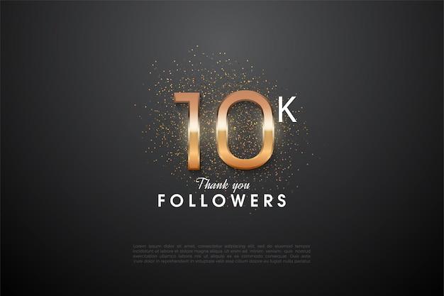 Sfondo 10k follower con brillanti illustrazioni numeriche e glitter arancioni dietro.