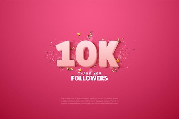 Sfondo 10k follower con colori numerici uniformi.