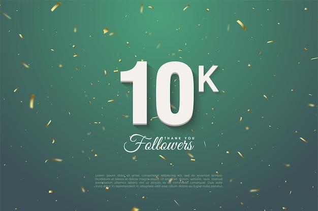 Sfondo 10k follower con numeri bianchi su sfondo verde scuro con motivi dorati.