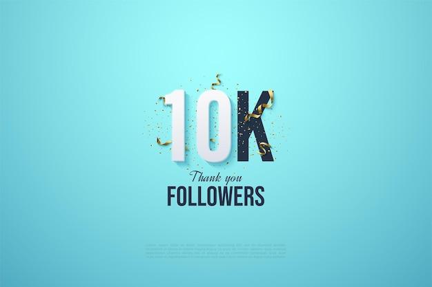 Sfondo di follower 10k con numeri e nastri d'oro.