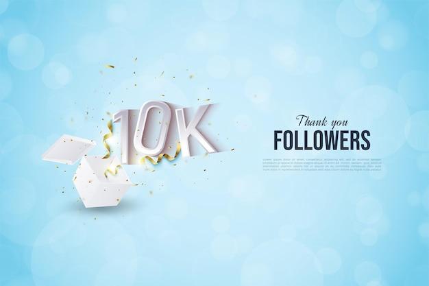Sfondo di 10k followers con numeri illustrati e festa festosa che scoppia fuori dalla scatola.