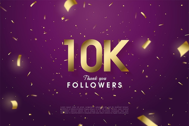 Sfondo di follower 10k con illustrazione di numeri d'oro su sfondo viola.