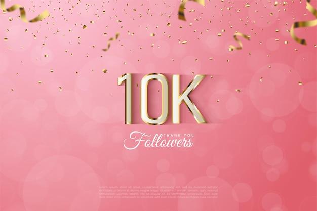Sfondo di follower 10k con numeri lussuosi con bordi dorati.