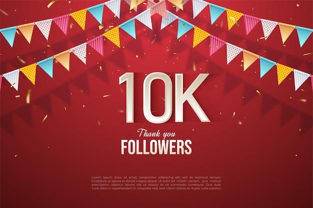 Sfondo di 10k follower con numeri al centro dello sfondo e bandiere colorate.