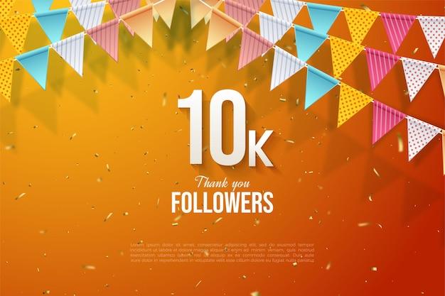 Sfondo di follower 10k con numeri e bandiere colorate su uno sfondo arancione con glitter oro.