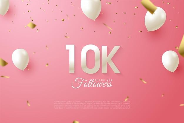 Sfondo di follower 10k con numeri e palloncini bianchi su sfondo rosa pulito.