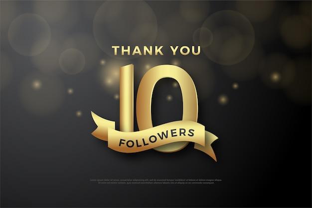 10k follower o abbonati, numeri d'oro ed eleganti nastri d'oro.