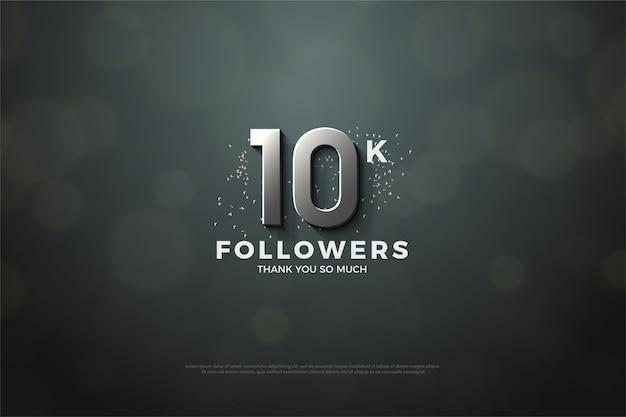 10k follower o abbonati con numeri metallici 3d.