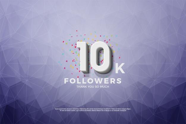 10k follower o abbonati con un numero 3d su uno sfondo di cristallo.