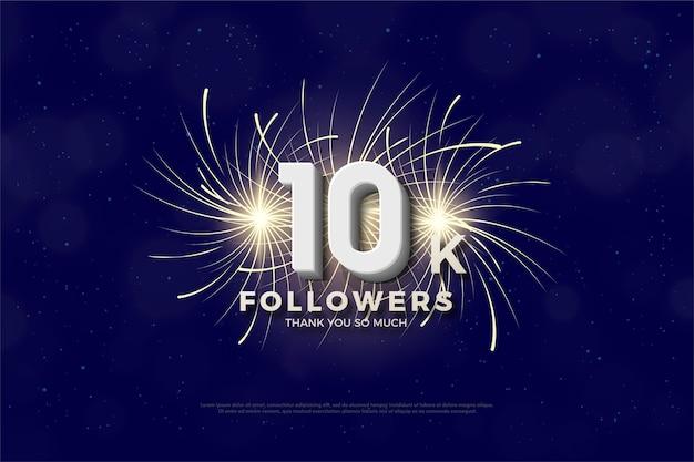 10.000 follower o abbonati con numeri 3d e scintille di petardi.
