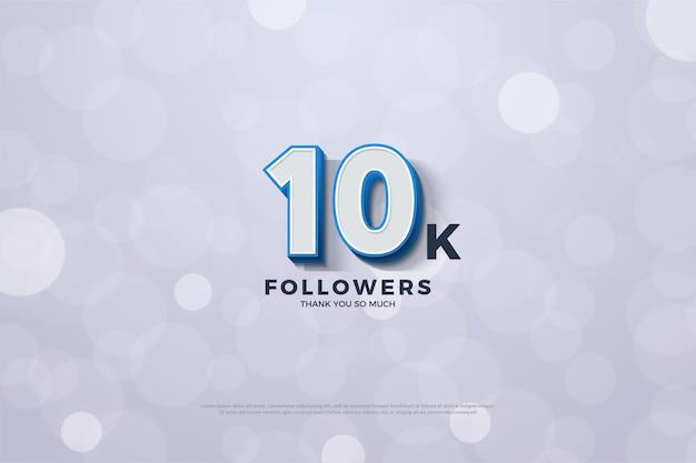 Spiccano 10.000 follower o iscritti con illustrazioni numeriche 3d.