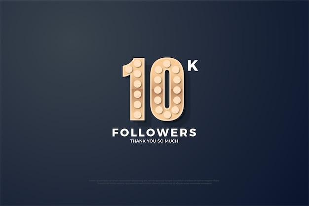 10k follower o abbonati con luci sui numeri illustrazione.