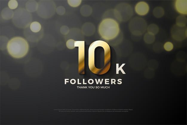 10.000 follower o abbonati con numeri d'oro 3d di lusso.