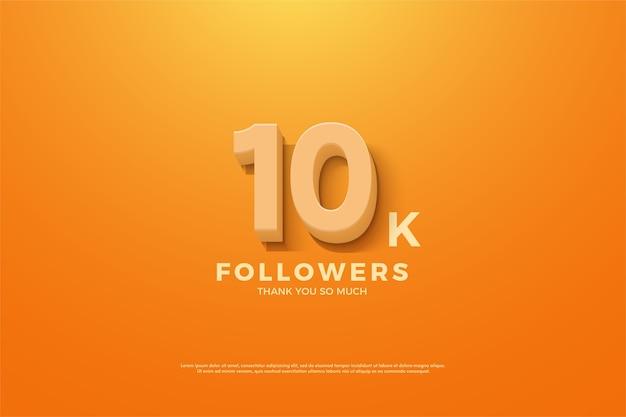 10.000 follower o abbonati con numeri 3d arancioni.