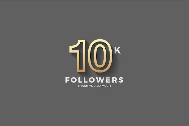 10.000 follower o abbonati con un numero d'oro a strisce.