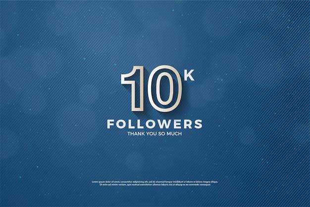 10.000 follower o iscritti con una linea bianca formano un numero.