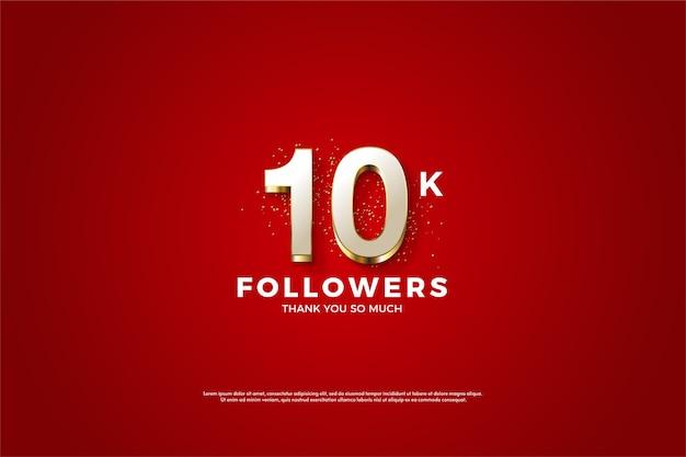 10k follower o abbonati con numeri bianchi con strisce dorate.