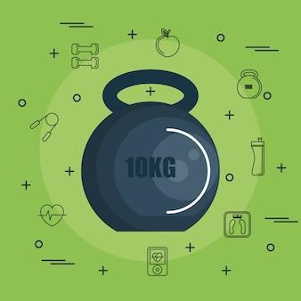Kettlebell 10kg con oggetti disegnati a mano legati all'esercizio su sfondo verde. illustrazione vettoriale