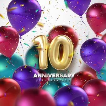 Segno di celebrazione del decimo anniversario con palloncini rossi e coriandoli numero dorato 10