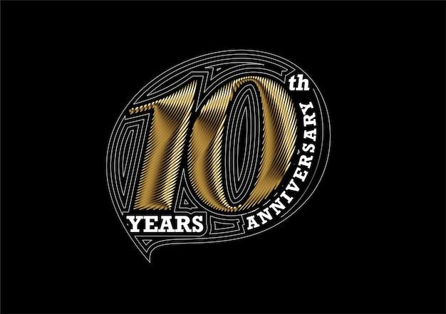 Design in oro per la celebrazione del decimo anniversario. disegno vettoriale.