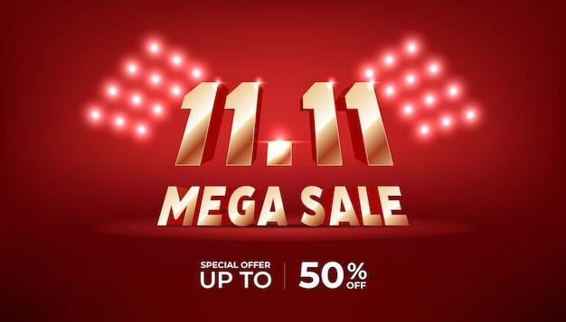 11.11 modello di banner di vendita mega. numeri dorati 11.11 su sfondo rosso.