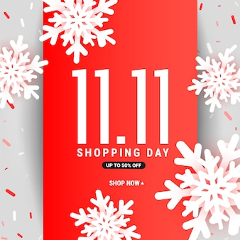 11.11 modello di carta sconto vettore vendita con nastro rosso, fiocchi di neve 3d e forme liquide