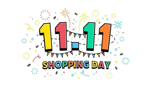 11.11 modello di banner per il giorno dello shopping. giornata mondiale dello shopping globale vendita su sfondo colorato. 11.11 vendite folli online.