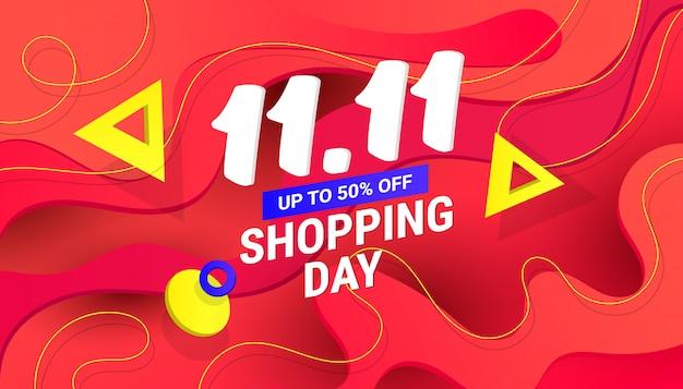 11.11 banner di design di vendita del giorno dello shopping con onda in plastica sfumata liquida e testo per copertine