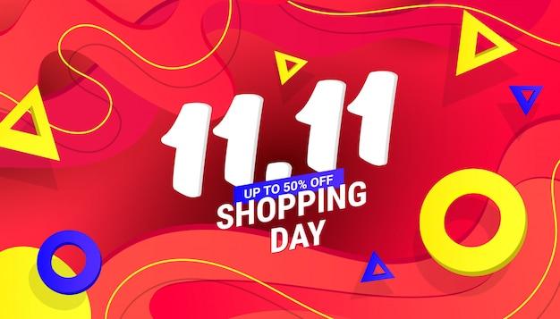 11.11 banner di design di vendita di shopping day con onda e testo in plastica sfumata liquida