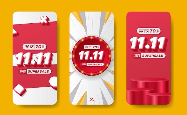 11.11 promozione dello sconto del giorno dello shopping del giorno dei single stroies banner sui social media pubblicità finale grande mega vendita con testo 3d