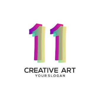 11 numero logo design sfumato colorato