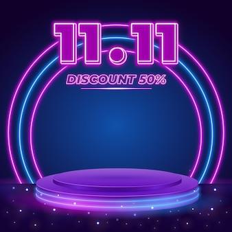 1111 modello di post vendita podio al neon