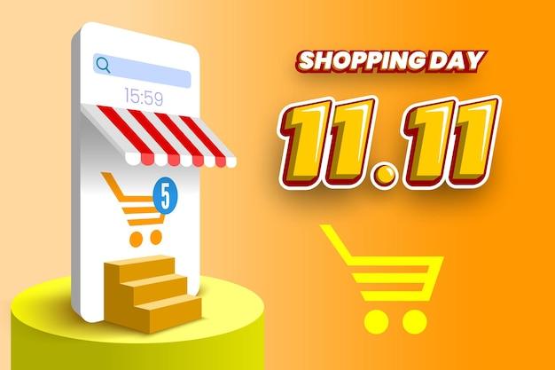 Banner di vendita di giorno dello shopping online 1111 con podio per smartphone e scale illustrazione vettoriale