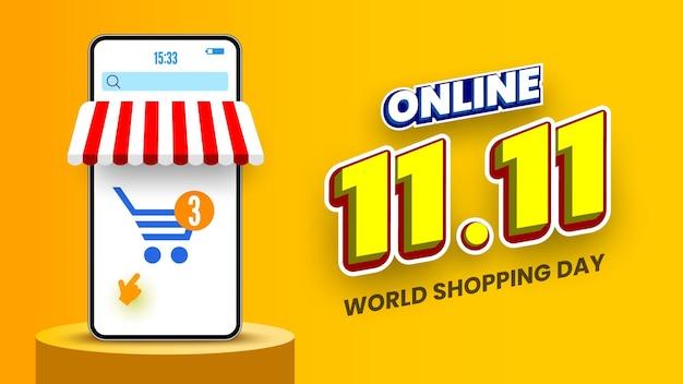 Banner di vendita di giorno dello shopping online 1111 con smartphone e podio illustrazione vettoriale