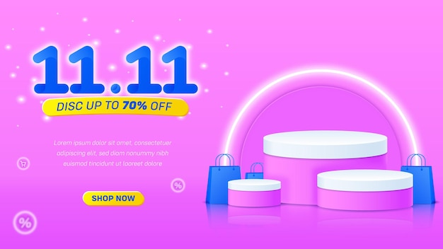 1111 vendita podio carino sfondo rosa