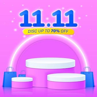 1111 modello di post vendita podio carino sfondo rosa
