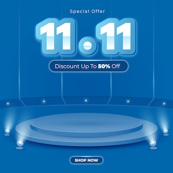 1111 vendita podio social media post sfondo blu
