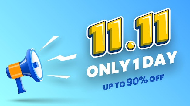 Banner di vendita del giorno dello shopping 1111 con illustrazione vettoriale megafono