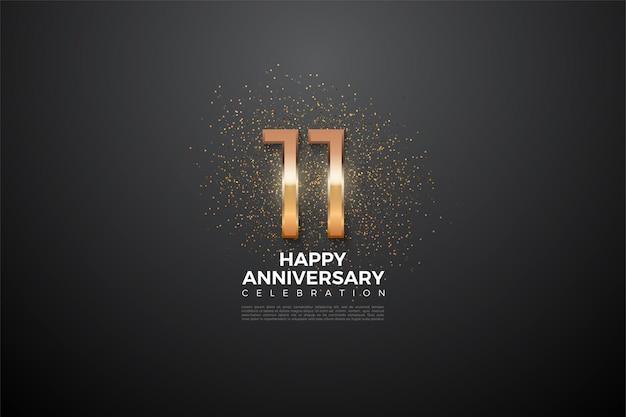 11 ° anniversario con un numero luminoso e uno scintillio