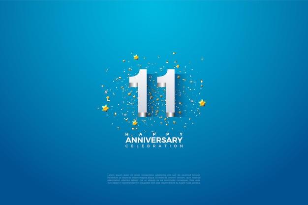 11 ° anniversario con illustrazione numerica in rilievo argento lucido. Vettore Premium