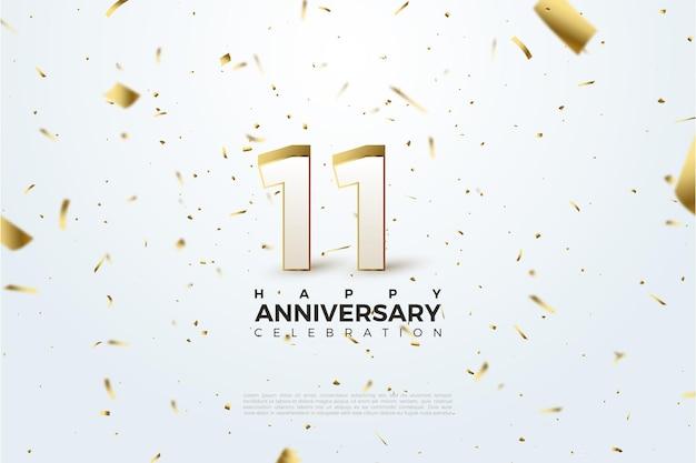 11 ° anniversario con una carta fantasia oro sfondo bianco illustrazione sparsi.