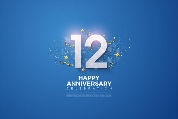 12 ° anniversario con numeri e festa