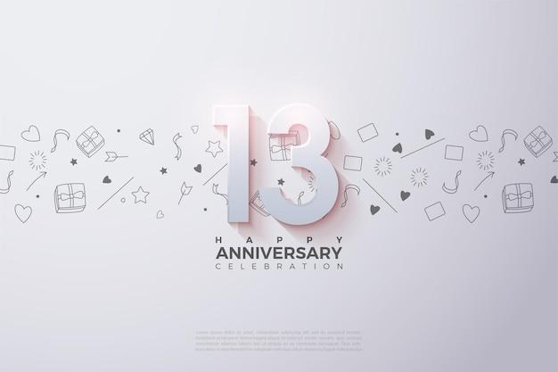 13 ° anniversario con numeri 3d in dissolvenza.