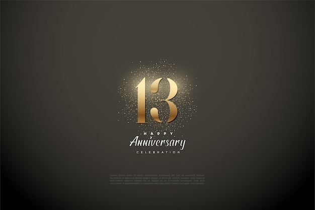 13 ° anniversario con illustrazione di numeri d'oro e glitter.