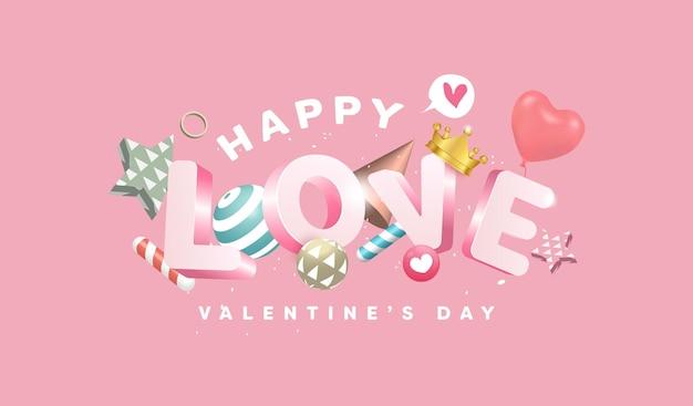 14 febbraio banner di san valentino felice con elementi di design di testo, palla, stella, palloncini cuore. oggetti adorabili su sfondo rosa.
