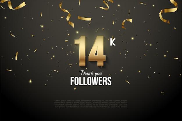 14k follower con numeri e goccia di nastro d'oro