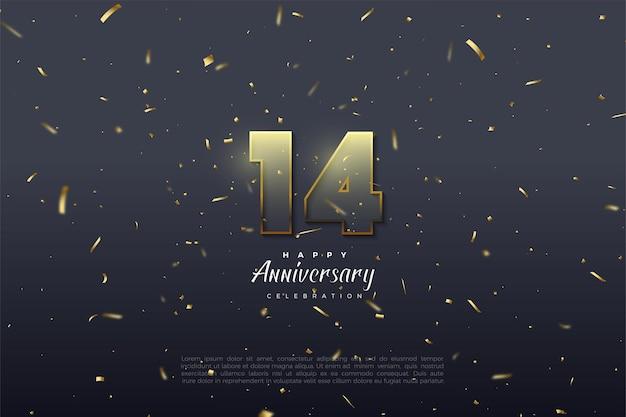 14 ° anniversario con numeri trasparenti 3d.