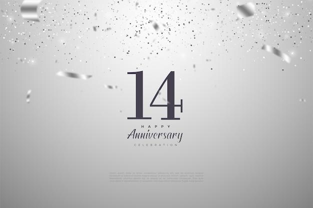 14 ° anniversario con numeri e nastri in argento decorati.